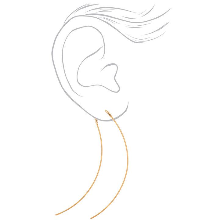 Gold 60MM Wire Chain Drop Earrings,