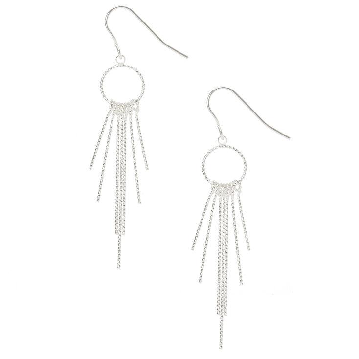 Silver Open Circle Bar Fringe Drop Earrings,