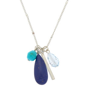 Silver Stone Cluster Long Pendant Necklace - Blue,