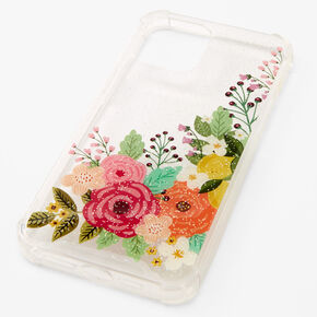Clear Glitter Floral Phone Case - Fits iPhone® 12 Pro Max,