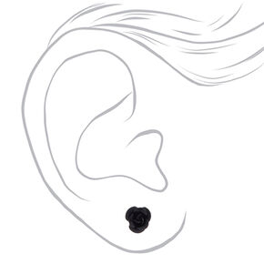 Sterling Silver Black Carved Rose Stud Earring,