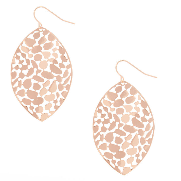 "Rose Gold 2"" Pebble Leaf Drop Earrings,"