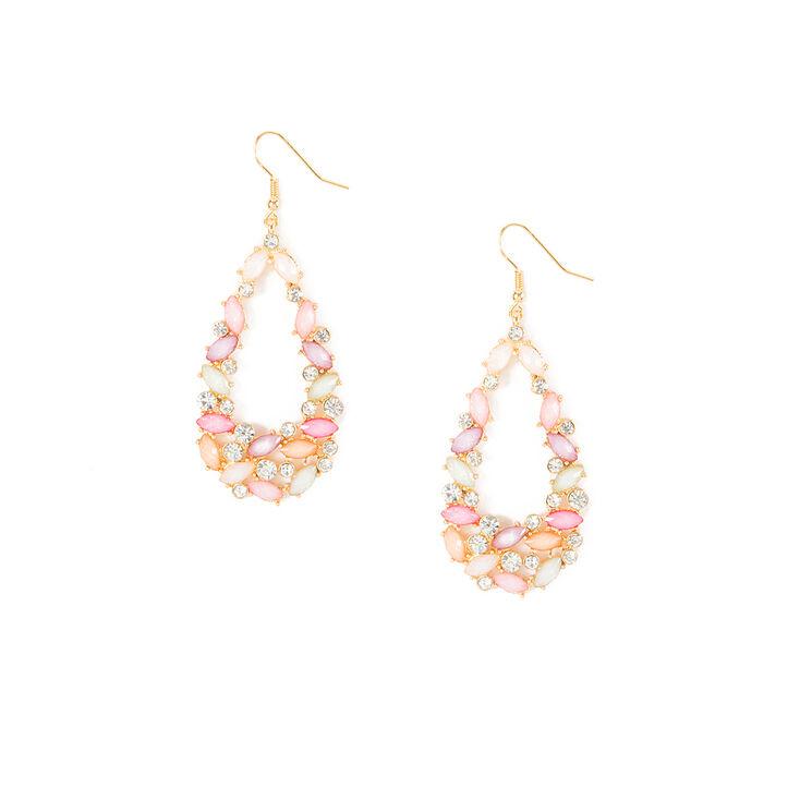Glitter Stone Marquis & Crystal Teardrop Drop Earrings,