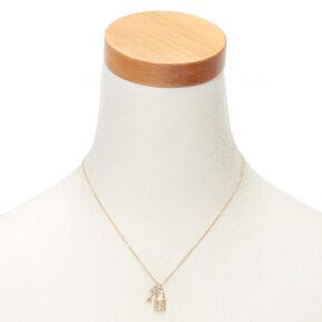 Gold Lock & Key Initial Pendant Necklace - I,