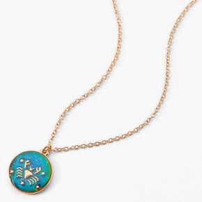 Gold Round Mood Zodiac Pendant Necklace - Cancer,
