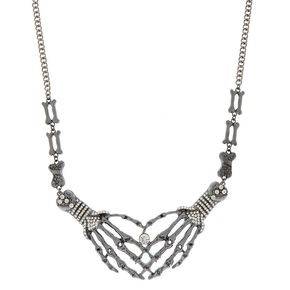 Hematite Skeleton Hands Necklace,