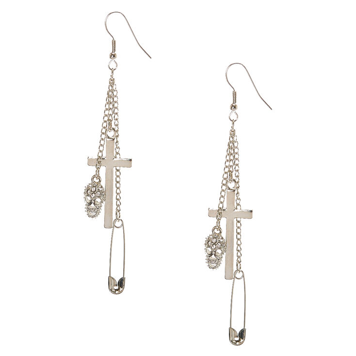 Silver Tone Gothic Charm Drop Earrings,