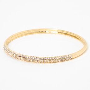Gold Pave Rhinestone Bangle Bracelet,