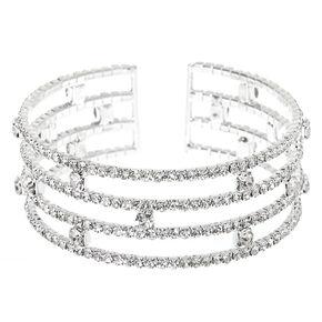 Silver Rhinestone Stacked Cuff Bracelet,