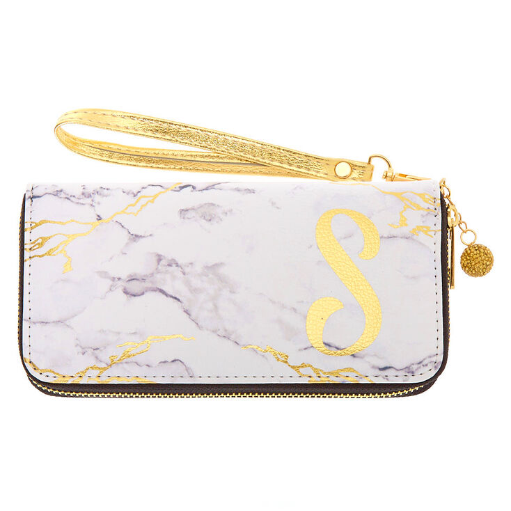 Marble Initial Wristlet - S,