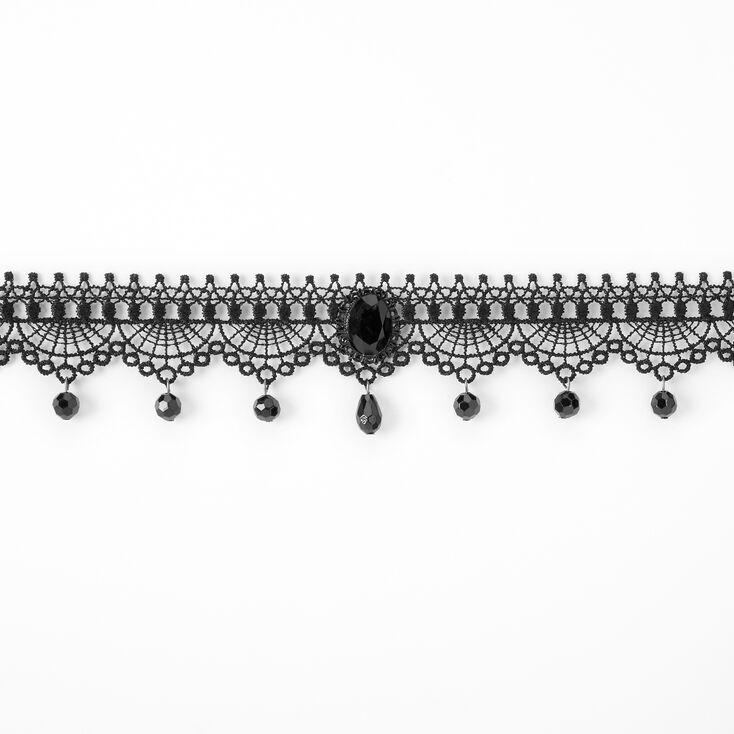 Lace Large Gem Choker Necklace - Black,