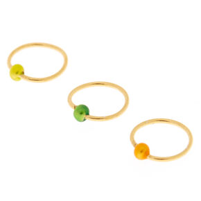 Sterling Silver Jamaica Ball Gold Nose Rings 3 Pack,