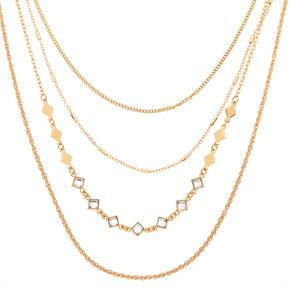 Gold Diamond Multi Strand Necklace,