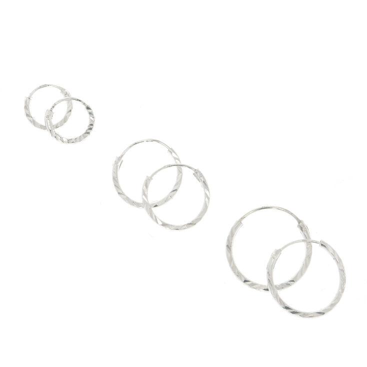925 Sterling Silver Lazercut Hoop Earrings,