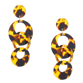 "Gold 2.5"" Round Tortoiseshell Link Drop Earrings - Brown,"