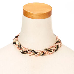 Mixed Metal Braided Chain Rope Statement Choker Necklace,