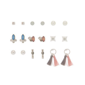 Silver Vintage Crystal Stud Earrings - 9 Pack,