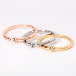 Mixed Metal Basic Midi Rings - 3 Pack,