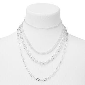 Silver Chain Multi Strand Choker Necklace,