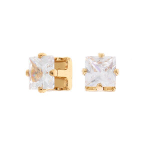 Gold Cubic Zirconia 5MM Square Magnetic Stud Earrings,