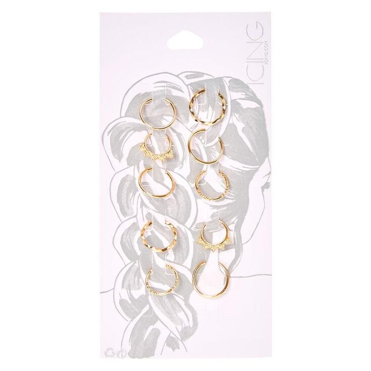 Gold Hair Rings 10 Pack,