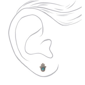 Sterling Silver Hamsa Stud Earrings,