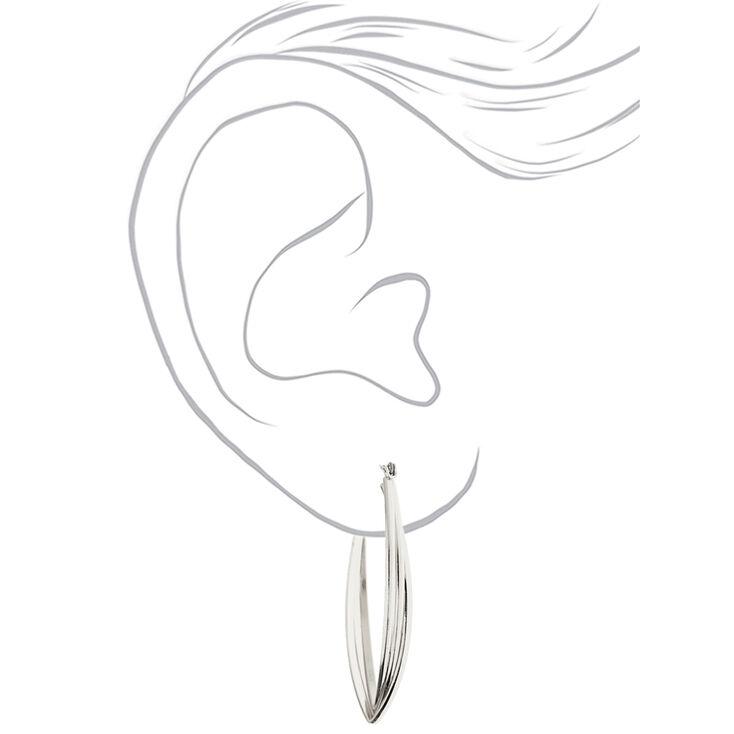 Silver 50MM Twisted Oval Hoop Earrings,