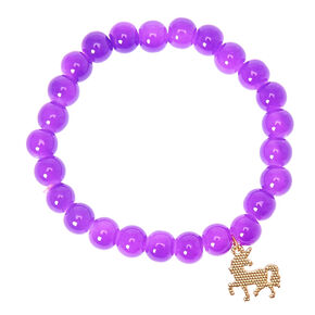 Unicorn Beaded Stretch Bracelet - Purple,