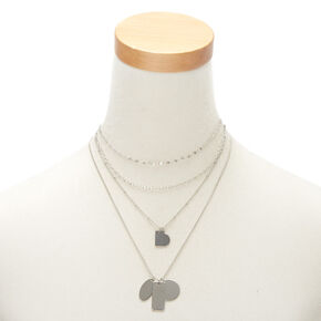 Silver Dog Tag Pendant Necklaces - 4 Pack,