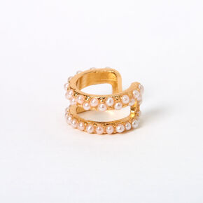 Gold Pearl Double Row Ear Cuff,