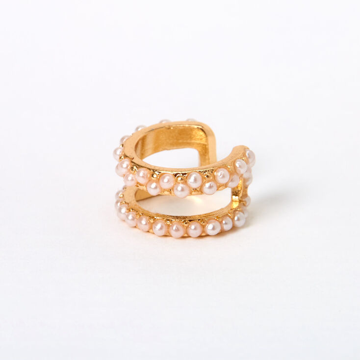 Gold Pearl Double Row Ear Cuff,