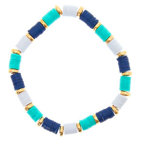 Turquoise & Navy Disk Stretch Bracelet,