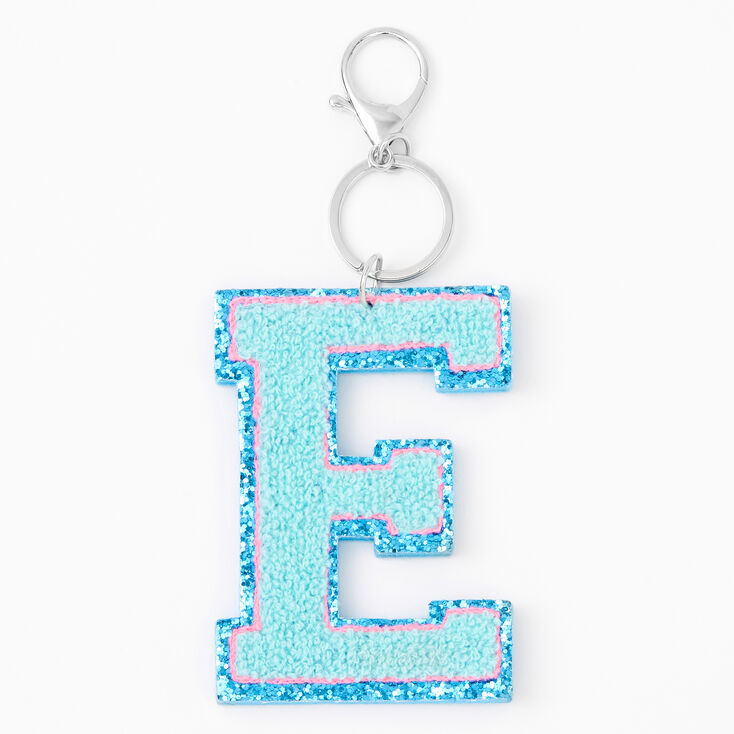 Blue Varsity Initial Keychain - E,