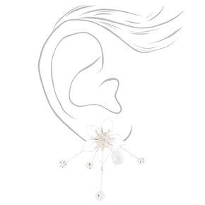 Frosted Flower Burst Stud Earrings - White,