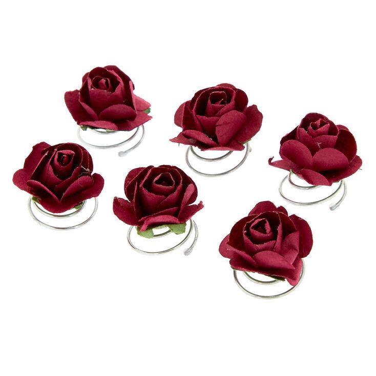 Rose Hair Spinners - Burgundy, 6 Pack,