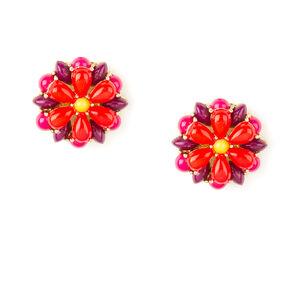 Coral, Pink & Purple Bead Layered Flower Stud Earrings,