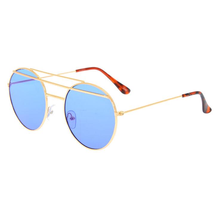 Round Double Bar Sunglasses - Blue,