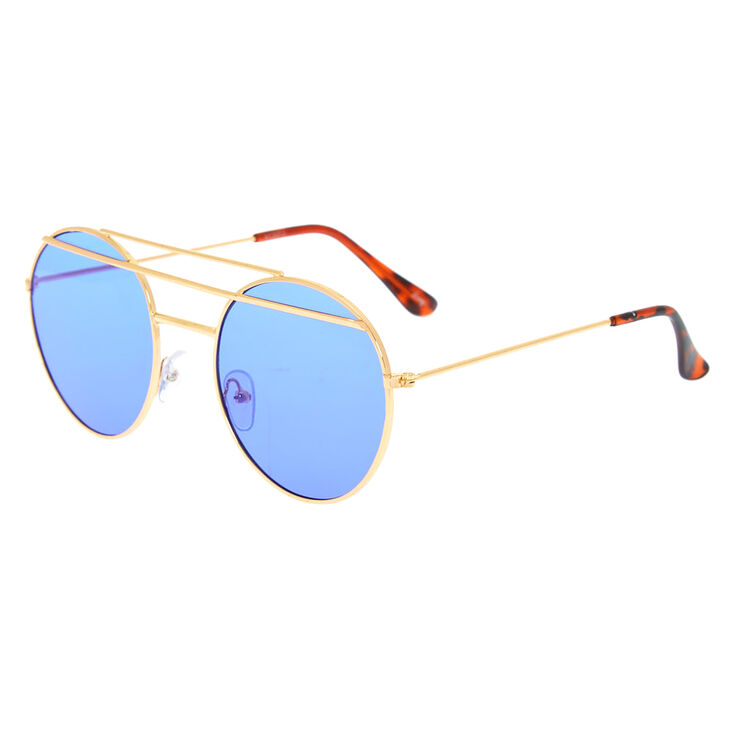 Round Double Bar Sunglasses - Blue,