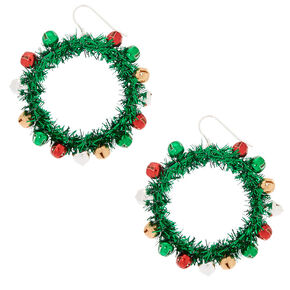 "2"" Wreath Drop Earrings - Green,"