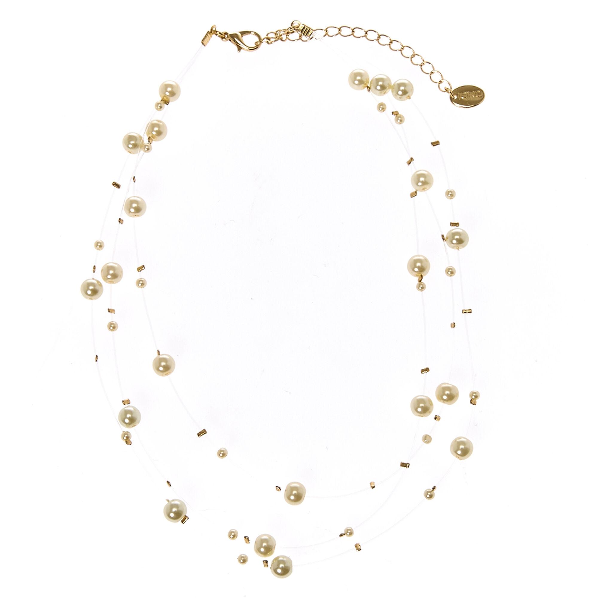 65f8bec5e04fd Multi-Strand Ivory Faux Pearl Choker Necklace