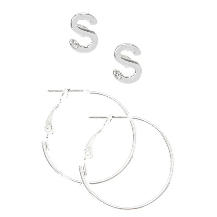 """Silver Initial """"S"""" Stud & Mini Hoop Earrings,"""