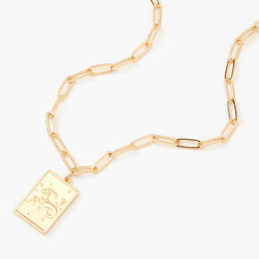 Gold Rectangle Zodiac Symbol Pendant Necklace - Capricorn,