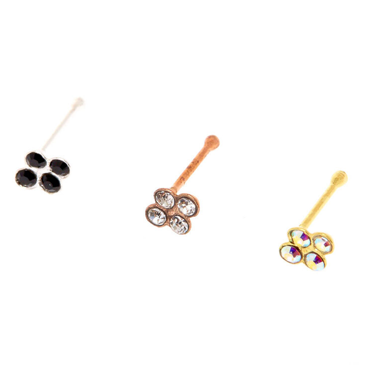 925 Sterling Silver Crystal Bunch Nose Studs,