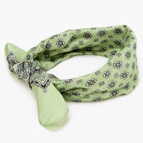 Floral Paisley Silky Bandana Headwrap - Light Green,