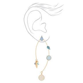 """Gold 2.5"""" Opal Stone Drop Earrings - Blue,"""