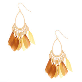 "Gold 2"" Feather Teardrop Drop Earrings - Yellow,"