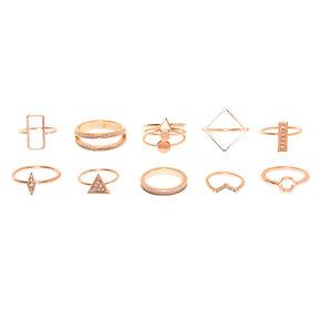 Rose Gold Glitter Geometric Rings - 10 Pack,