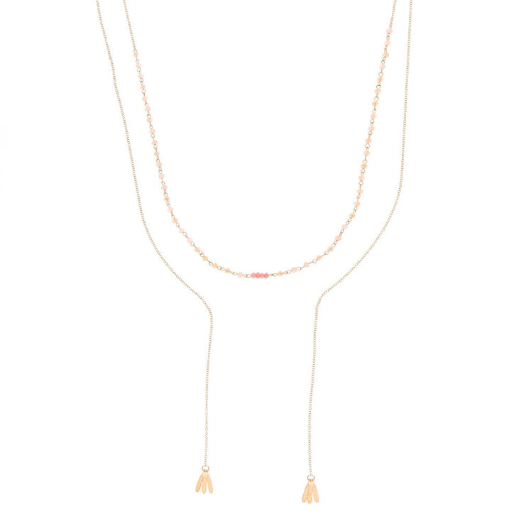 Rose Gold Beaded Statement Necklace - Pink,