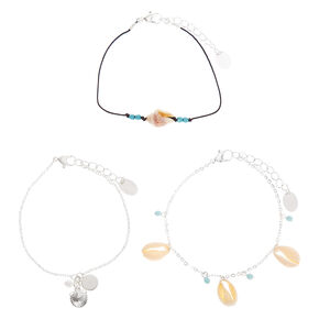 Silver Cowrie Shell Chain Bracelets - 3 Pack,