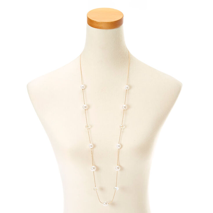 Gold-Tone Long Necklace with Faux Pearls &  Gems,